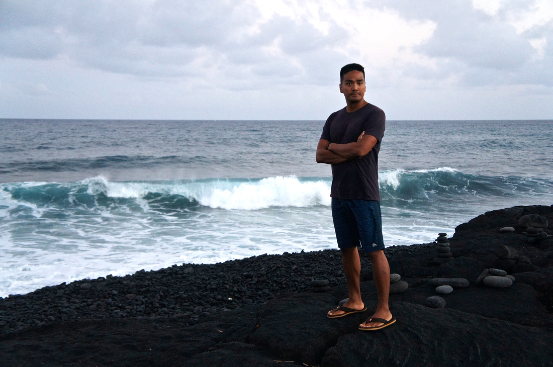 Blue waves and black rocky beach are a rare combo. Big Island is just full of beautiful surprises.