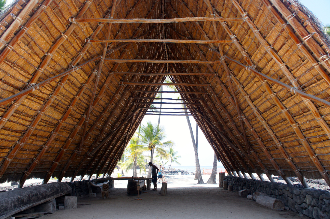 Under these large roofs native Hawaiians used to make tools, weapons, and canoes.