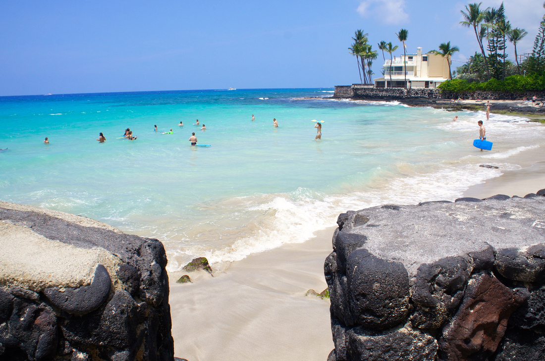 Magic Sands is one of the few white sand beaches on the Big Island of Hawaii.