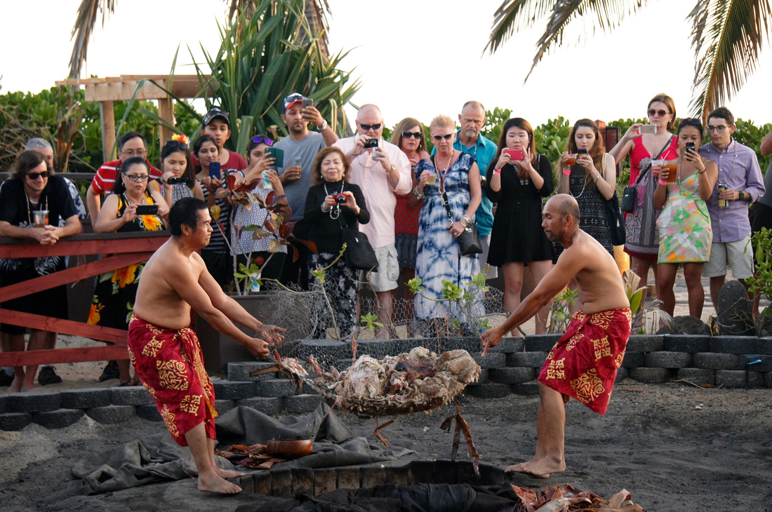 It takes about six hours for the kalua pig to fully cook in an underground pit. The meat comes out extremely tasty and tender.