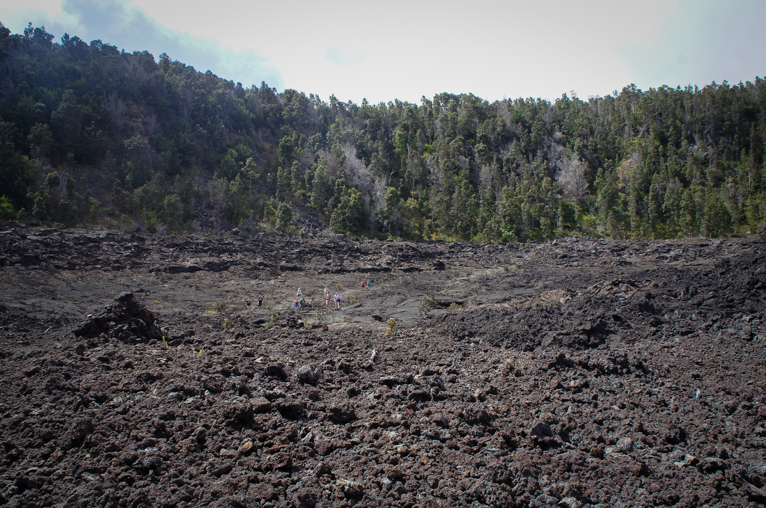 It is really hard to tell the distance while hiking Kilauea Iki trail. The lava covered valley is a lot bigger than it may appear at first. Look for other hikers to judge the distance.