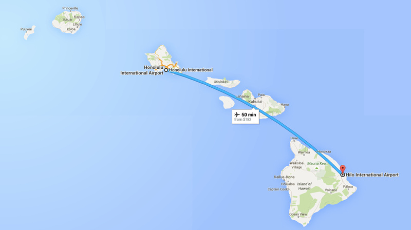 Flight from Honolulu to Hilo takes less than one hour.