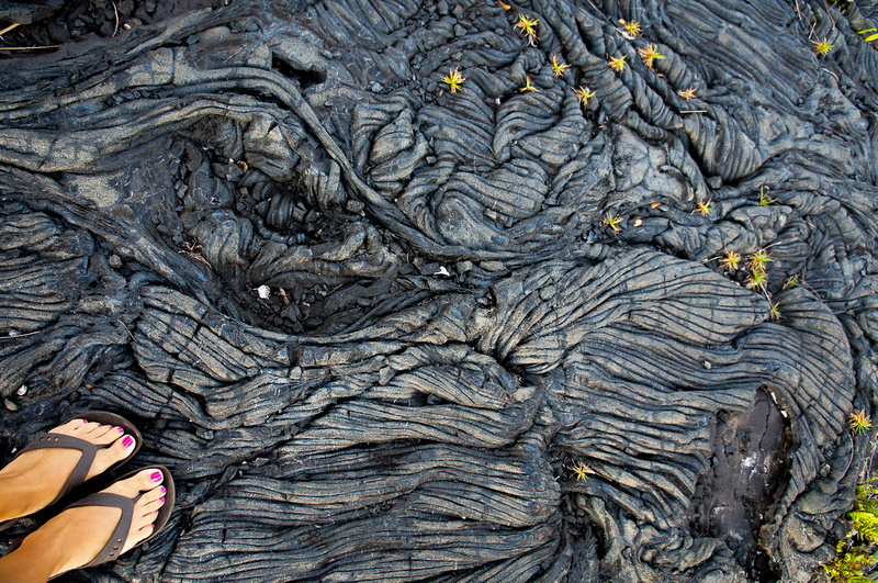 This pretty ropy lava is called pahoehoe lava in the Hawaiian language. It's one of the most beautiful things we've ever seen.