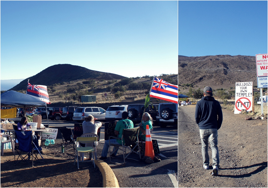 Peaceful protesters against Thirty Meter Telescope (TMT) on Mauna Kea.