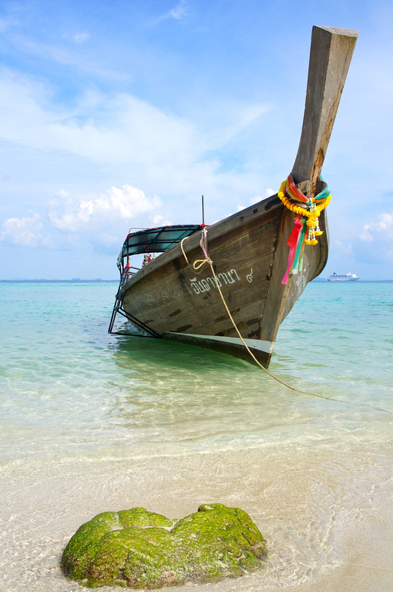 Our long tail boat was docked on the beach waiting for us as we were eating lunch.
