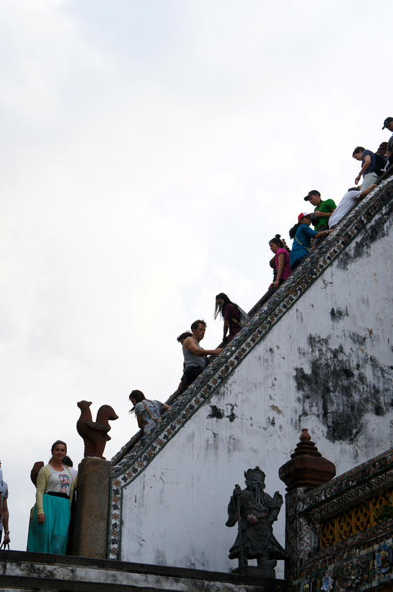 If you decide to climb Wat Arun Temple in Bangkok, you better not be scared of heights.