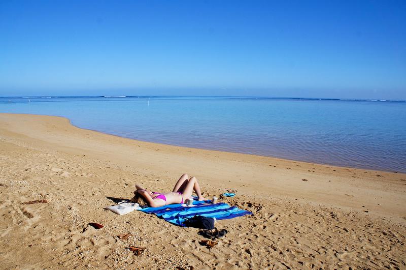Hot girl on Anini Beach, Kauai, Hawaii