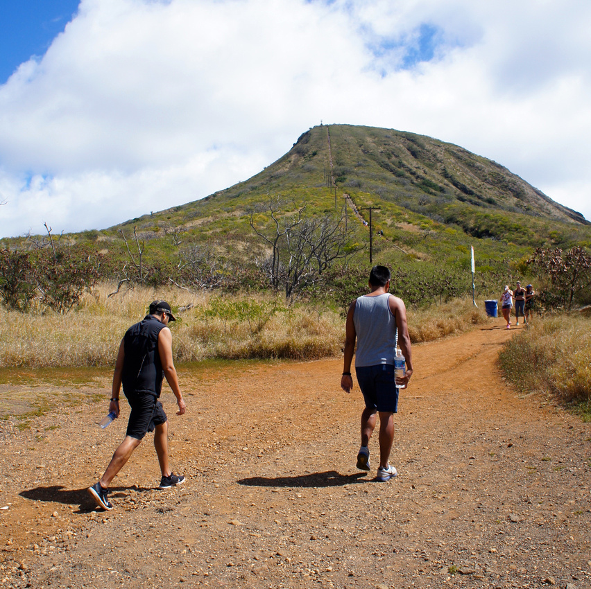 at the beginning of Koko Head hike