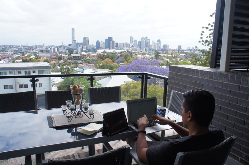 Our airbnb in Brisbane had a spectacular view