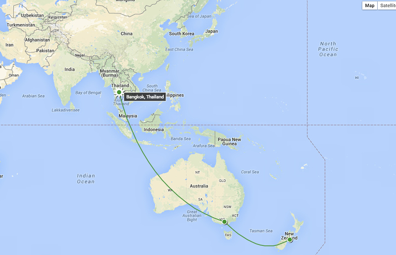 We Flew From Christchurch New Zealand To Melbourne Australia 3h And Then Bangkok Thailand 9 5h It Looks So Close On The Map But Is Actually
