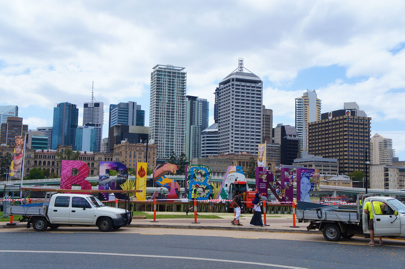 Colorful Brisbane sign for the G20 Cultural Celebration was being installed when we visited this beautiful city.